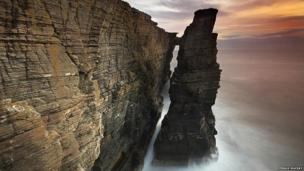 Sea stack and cliff wall in Caithness