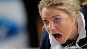 Anna Sloan of Scotland screams instructions
