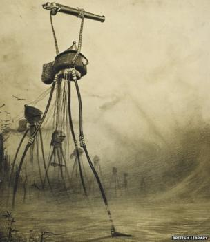 A drawing from War Of the Worlds showing large tripod machines with heat rays mounted at the top
