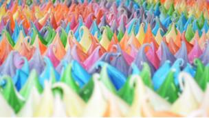 Rainbow-coloured cake icing