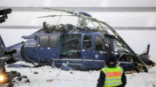 Crashed helicopter at the Olympic Stadium in Berlin