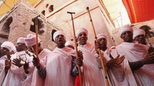 Christian Orthodox priests and other clergy members perform a ritual on 19 March 2013 in Lalibela, Ethiopia