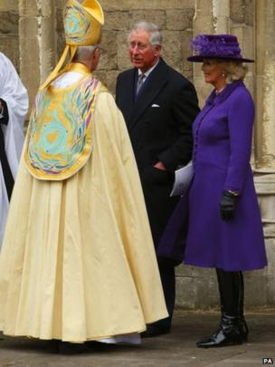 The Prince of Wales and the Duchess of Cornwall speak with the Archbishop of Canterbury, the Most Reverend Justin Welby following his enthronement at Canterbury Cathedral.