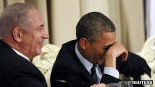 "U.S. President Barack Obama shares a laugh with Israel""s Prime Minister Benjamin Netanyahu"