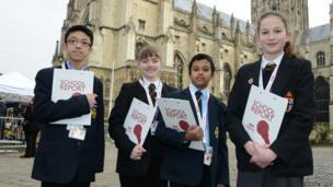 School Reporters Kelvin, Anna, Yoovraj and Robyn arrive at the Cathedral ready to start their day of reporting on the Archbishop of Canterbury's enthronement