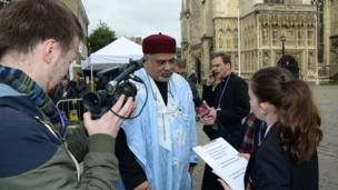 Even as the final guests were asked to make their way into the Cathedral, they made the most of a final quick interview