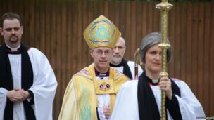 The Most Reverend Justin Welby arrives for his enthronement as 105th Archbishop of Canterbury