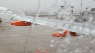 Plane wing taken from the plane at Gatwick airport. Photo: Lisa Webb