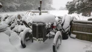 Dave Bryan's Massy Ferguson tractor near Mold, Flintshire