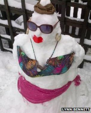 A snow woman in New Mills, Powys