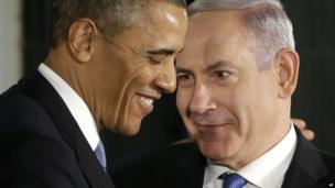 US President Barack Obama (left) with Israeli Prime Minister Benjamin Netanyahu in Jerusalem, 20 March