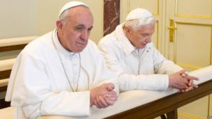 Pope Emeritus Benedict, right, with Pope Francis. 23 March 2013