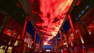 LED sky screen before switch-off in Beijing's Central Business District