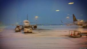 Snow at East Midlands Airport