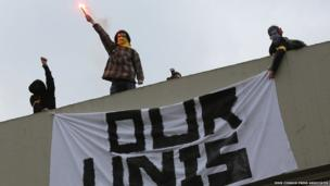 Protesters at University of Sussex demonstration