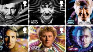 Doctor Who stamps featuring the Doctor in earlier episodes