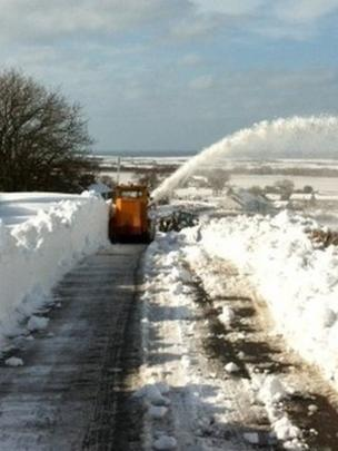 Snow blower tackles A595