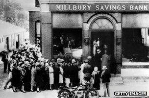 A bank run in 1929 at the Millbury Savings Bank in Massachusetts