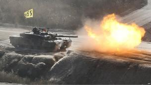 A South Korean tank fires during exercises north-east of Seoul, 27 March