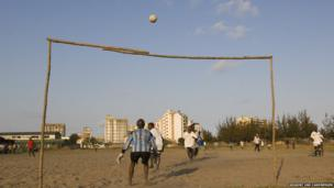Beira, Mozambique's second largest city is home to half a million. Football is a national passion