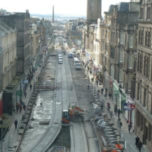Tram works in Edinburgh