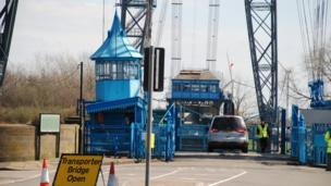 Cars going onto Newport Transporter Bridge
