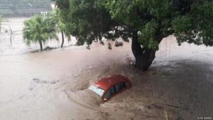 Submerged car in Mauritian capital Port Louis