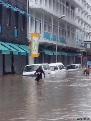 Flooded street in Port Louis