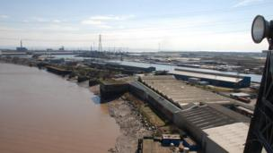 View of Newport docks from the transporter bridge
