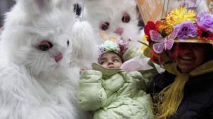 People dress up as rabbit