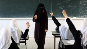 Palestinian teacher at a school in Gaza City (2 April 2013)