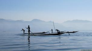 Fishermen on Lake Inle in Burma