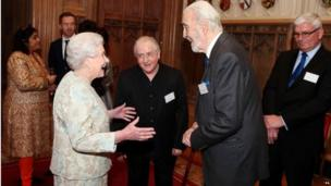 The Queen with Sir Christopher Lee