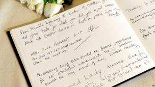 Messages are displayed in a book of condolence in honour of former prime minister Baroness Thatcher at the Grantham Museum in her hometown of Grantham, Lincolnshire.