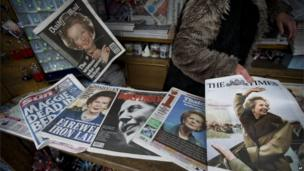 British newspapers covering the death of Baroness Thatcher