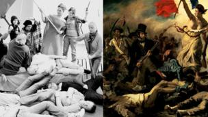 A modern group recreates Eugene Delacroix's famous painting Liberty Leading the People