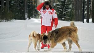 Russia's President Vladimir Putin with dogs