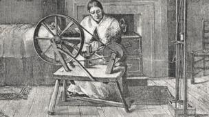 Print entitled 'Winding Quills in a Spitalfields Cottage'
