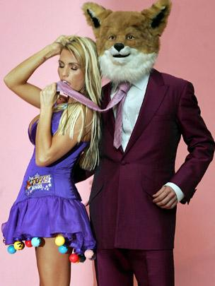 Model Katie Price with the Foxy Bingo mascot in 2007