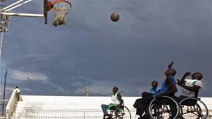 Disabled basketball players practise in Juba on 5 April 2013