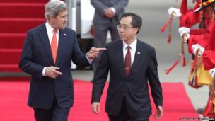 US Secretary of State John Kerry arrives in South Korea