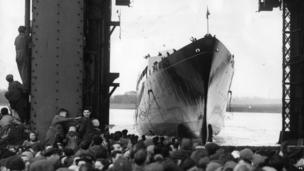 Launching of the Royal Yacht Britannia, 16 April 1953