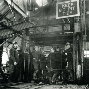 Miners waiting in the lift to descend into the pit, 1976