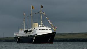 Britannia moored off the Western Isles, 1985