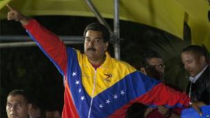 Nicolas Maduro celebrates after the official election results are announced declaring him the winner in the presidential election