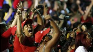 Supporters of Nicolas Maduro celebrate the announcement of his victory in the presidential election