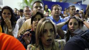 Supporters of defeated candidate Henrique Capriles react to the news of Mr Maduro's win