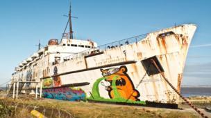 Graffiti on the Duke of Lancaster former ferry