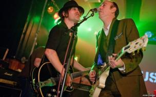 'Dave' and Mick Jones at The Scala in London by Peter Stevens