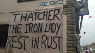 Anti-Margaret Thatcher on the side of The Rusty Dudley